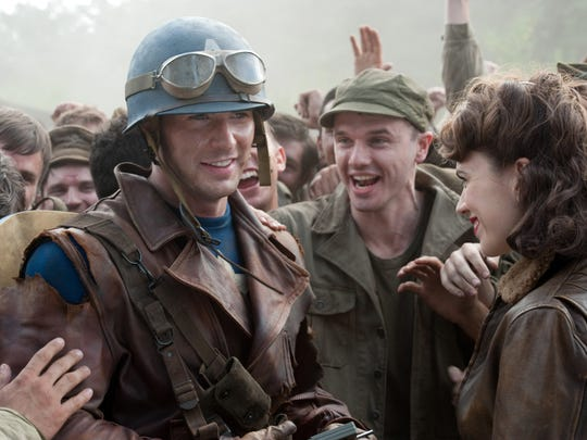 "Steve Rogers (Chris Evans) supports his fellow soldiers in ""Captain America: The First Avenger."""