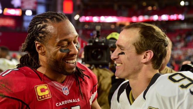 Larry Fitzgerald wouldn't mind seeing Drew Brees as the Cardinals' next quarterback.