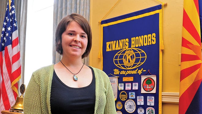 In this May 30, 2013, photo, Kayla Mueller is shown after speaking to a group in Prescott.