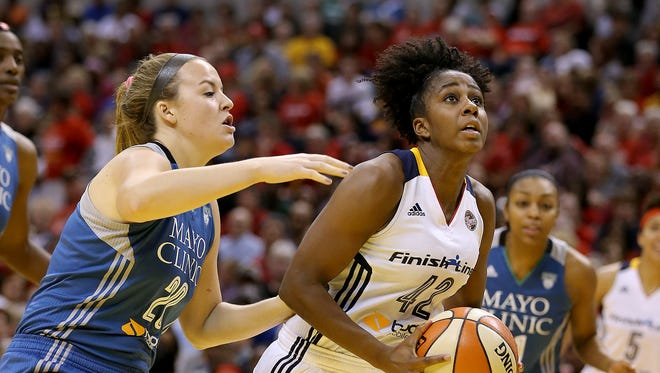 Rush-Henrietta graduate Shenise Johnson (42) has  led the Indiana Fever in scoring each of the past two games of the WNBA Finals. The decisive Game 5 is tonight in Minneapolis.