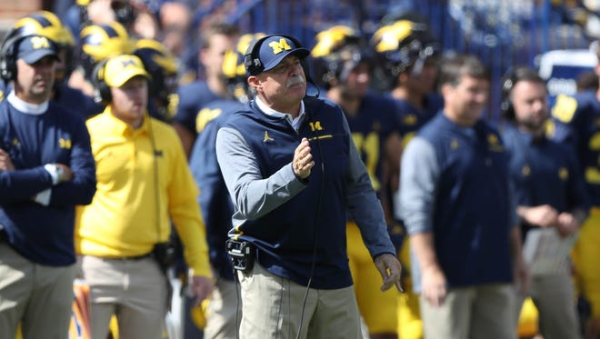 Michigan defensive coordinator Don Brown on the sideline during the fourth quarter of the Wolverines' 36-14 win over Cincinnati on Saturday, Sept. 9, 2017 at Michigan Stadium.