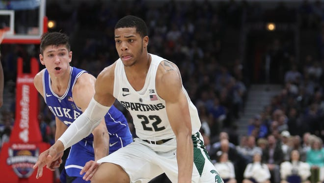 Michigan State's Miles Bridges drives against Duke's Grayson Allen during the second half of MSU's 88-81 loss on Tuesday, Nov. 14, 2017, in Chicago.