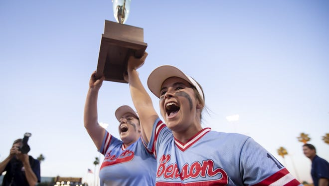 Katie Sherman (24) of Benson Bobcats celebrates with teammates following their win against the Camp Verde Cowboys in the 2A State Softball Championship at Farrington Softball Stadium on Tuesday, May 8, 2018 in Tempe, Arizona.