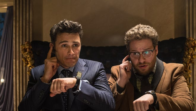 James Franco, left, as Dave, and Seth Rogen as Aaron, in a scene from 'The Interview.' The movie opens Dec. 25, 2014.