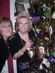 The 2017 Krewe Justinian Queen Melanie Johnson and 2018 Krewe Justinian Queen Tracey Cox at Queen's Tea for Cox at Johnson's home.