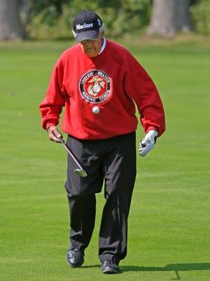 Veteran John Pausha of Sheboygan plays with the golf ball between holes during the Patriot Challenge Monday, September 11, 2017, at The Bull at Pinehurst Farms in Sheboygan Falls, Wis.
