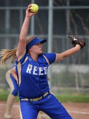 Reed's Aliya Lange winds up for a pitch during Thursday's game against Wooster. Lange threw a no-hitter against Wooster
