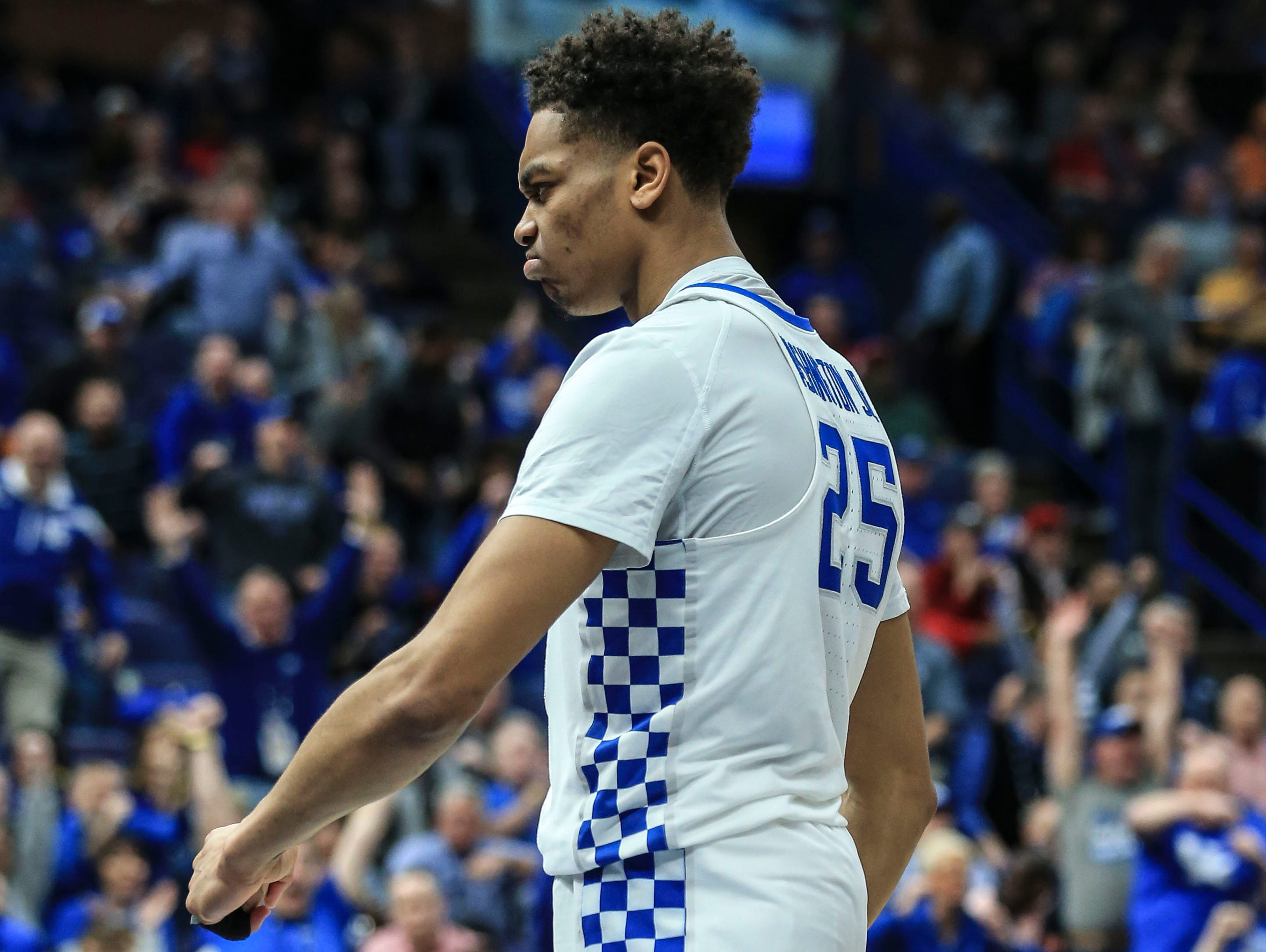 Kentucky's PJ Washington reacts after he slams down two in the first half against Alabama during Saturday's semifinal SEC Tournament game in St. Louis. March 10, 2018