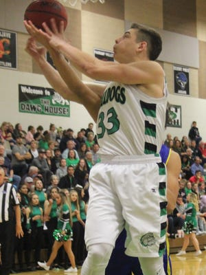 Jayden Perkins goes up for a shot during Virgin Valley's 56-40 win over Moapa Valley on Friday night.