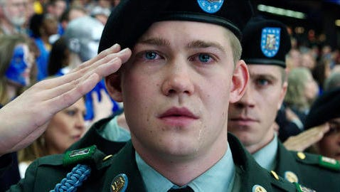 "This image released by Sony Pictures shows Joe Alwyn, portraying Billy Lynn, in a scene from the film, ""Billy Lynn's Long Halftime Walk,"" in theaters on November 11."
