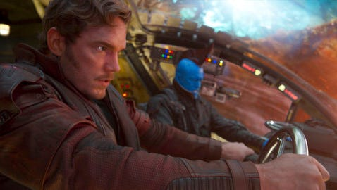 This image released by Disney-Marvel, Chris Pratt, left, and Michael Rooker appear in a scene from, Guardians Of The Galaxy Vol. 2.""