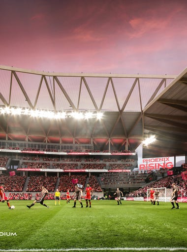 Rendering of the field-view for the possible MLS stadium of Phoenix Rising FC that were unveiled on Thursday March 15, 2018 in Scottsdale Ariz.