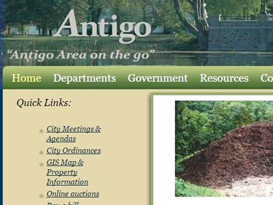 Antigo city website screen shot.