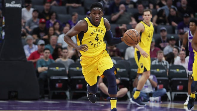 Mar 29, 2018; Sacramento, CA, USA; Indiana Pacers guard Victor Oladipo (4) steals the ball against the Sacramento Kings during the first quarter at Golden 1 Center. Mandatory Credit: Sergio Estrada-USA TODAY Sports