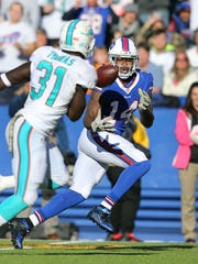 Bills receiver Sammy Watkins bobbles but hauls in this pass to set up a Karlos Williams touchdown.