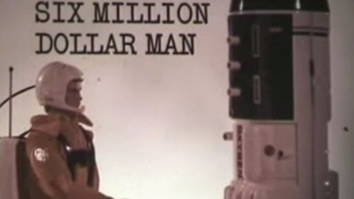 This screen grab comes from a commercial for the 'Six Million Dollar Man' action figure.