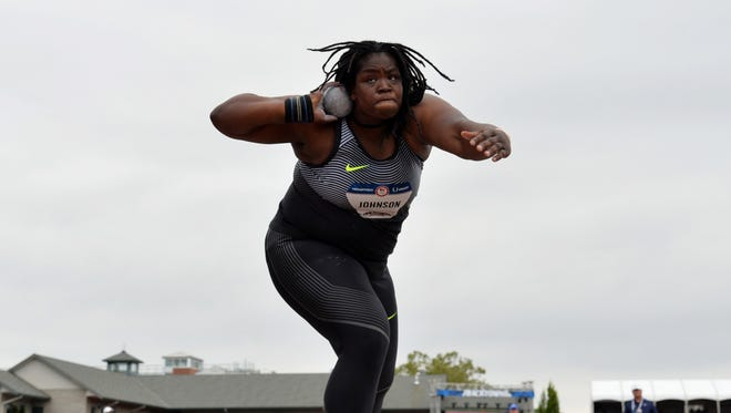 Jul 7, 2016; Eugene, OR, USA; Felisha Johnson throws 58-8 3/4 (17.90m) in the women's shot put qualifying to advance to the final during the 2016 U.S. Olympic Team Trials at Hayward Field.
