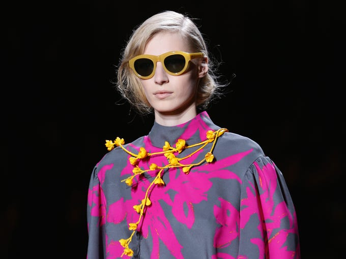 PARIS, FRANCE - FEBRUARY 26:  A model walks the runway during the Dries Van Noten show as part of the Paris Fashion Week Womenswear Fall/Winter 2014-2015 at Hotel de Ville on February 26, 2014 in Paris, France.  (Photo by Vittorio Zunino Celotto/Getty Images)