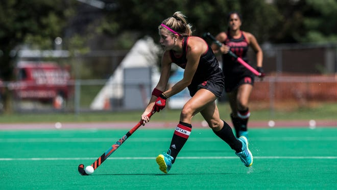 Haley Meade playing for Rutgers field hockey