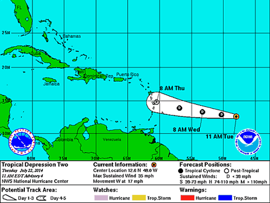 Forecast track of Tropical Depression Two at 8 a.m. July 22, 2014 (Source: National Hurricane Center)