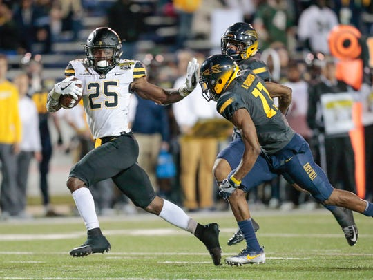 Appalachian State's Jalin Moore (25) is one of six active FBS players with back-to-back 1,000-yard rushing seasons.