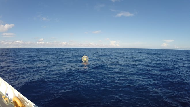 Coast Guard rescues man in inflatable hydro bubble.