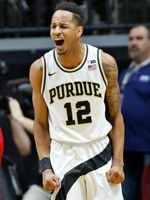 Vince Edwards lets out a scream after his score put Purdue up 50-39 over Wisconsin with 18:02 remaining Sunday, March 6, 2016, at Mackey Arena. Purdue defeated Wisconsin 91-80.