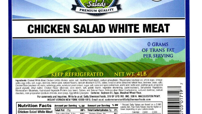 Sally Sherman Foods, located at 300 N. MacQuesten Parkway, recalled on Thursday about 3,004 pounds of chicken salad items due to the possible bacteria contamination, according to the the U.S. Department of Agriculture.