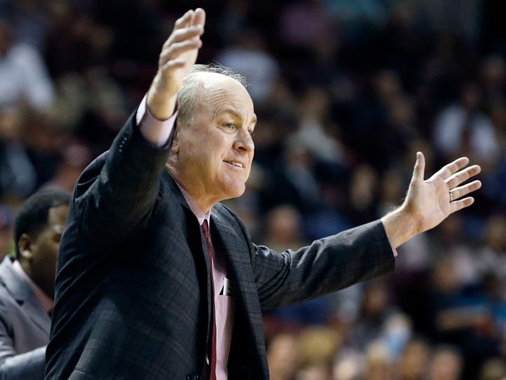 Mississippi State head coach Ben Howland reacts to