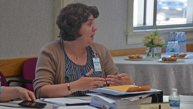 Willard Library Director Leah Dodd discusses budget details with her board during a regular meeting Wednesday.