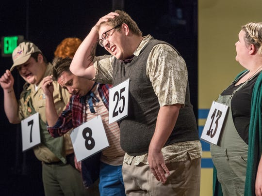 "Christian  Brooke and others rehearse for Encore Theatre's production of ""The 25th Annual Putnam County Spelling Bee"" on Monday, January 22, 2018."