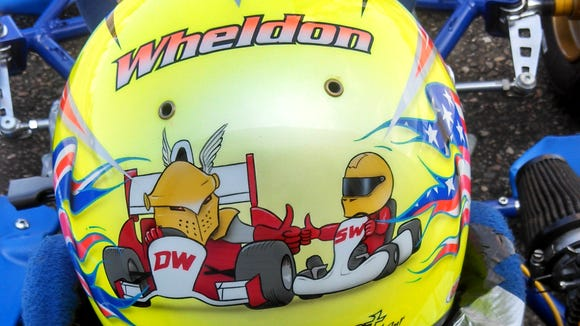 Sebastian Wheldon's driving helmet salutes his father, Dan.