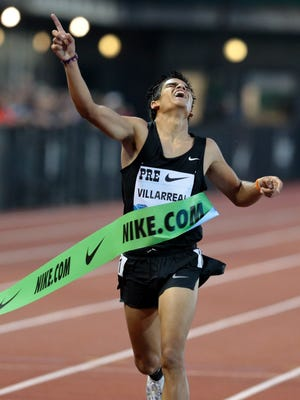 May 29, 2015: Carlos Villarreal (MEX) wins the boys' 1 mile run high school with a time of 4:05.25 (wind +1.7) at Hayward Field.