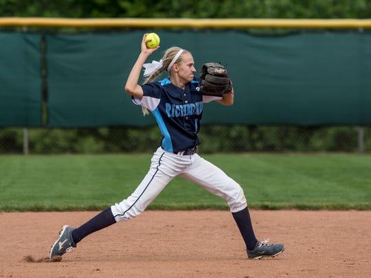 Richmond's Carley Barjaktarovich throws the ball to