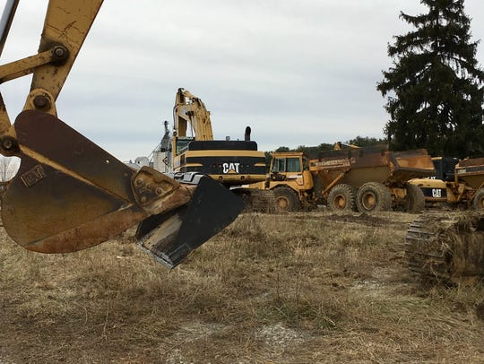 Equipment lined up across from Staunton Frontier, preparing