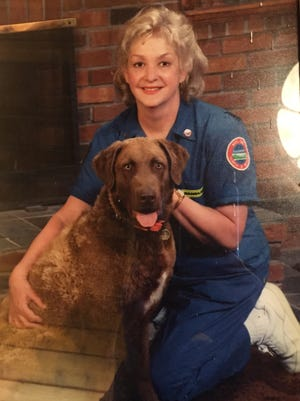 The late Patricia Karas with her beloved Chesapeake Bay retriever, Pride, the dog used to find cadavers in Shanksville, Pa., following the terrorist attacks on 9/11.