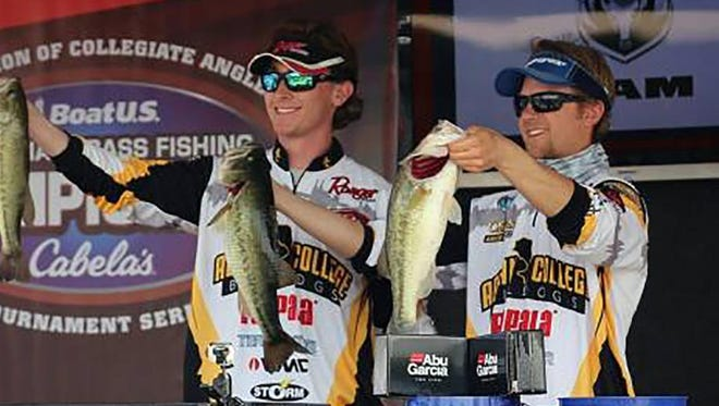 Caleb Taylor, left, and Marsh show off some of their catch during a recent tournament.