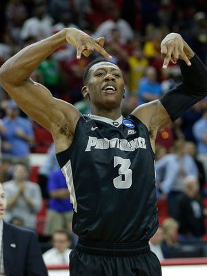 Providence guard Kris Dunn celebrates against USC on March 18, 2016, in Raleigh, N.C.
