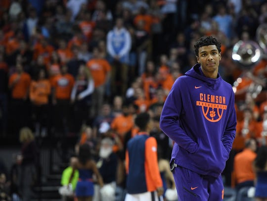 Clemson forward Donte Grantham (32) during pre-game
