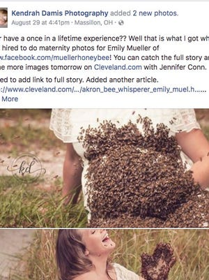 Photographer Kendrah Damis snapped pictures of Emily Mueller covered in bees.