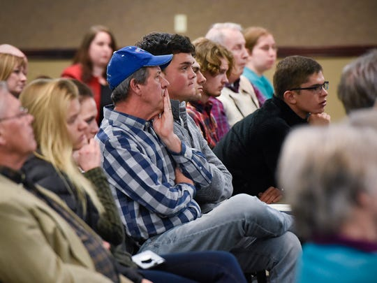 """An audience of all ages attended """"Reviewing Washington: An Assessment of the Trump Administration's First Year"""" panel discussion Wednesday, Jan. 24, at the College of St. Benedict in St. Joseph."""