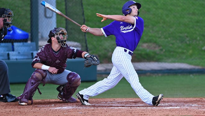 Northwestern State's Emile Lege takes a cut during Wednesday's game with ULM in Natchitoches.