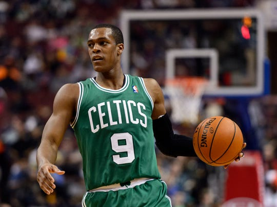Boston Celtics guard Rajon Rondo (9) brings the ball up court during the third quarter against the Philadelphia 76ers at the Wells Fargo Center. The Celtics defeated the Sixers 114-108.