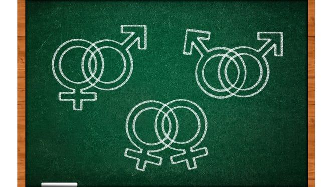 Sex symbols on green chalkboard.