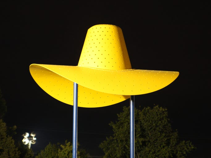 "2014 California Rodeo Salinas: Thursday Night Audience Pictures.  A detail from Claes Oldenburg's ""Hat in Three Stages of Landing"""