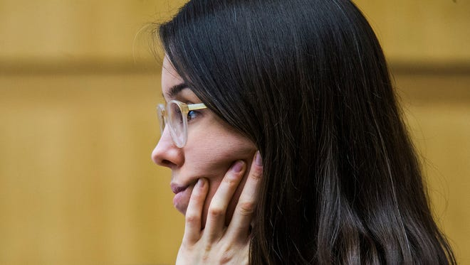 Jodi Arias listens to testimony from Dr. Robert Geffner in Maricopa County Superior Court in Phoenix during her sentencing retrial on Monday, Dec. 15, 2014. The Arizona Appeals Court ruled Tuesday, Dec. 16, 2014, that testimony made by Arias during a closed-door hearing in October must be made publicly available.