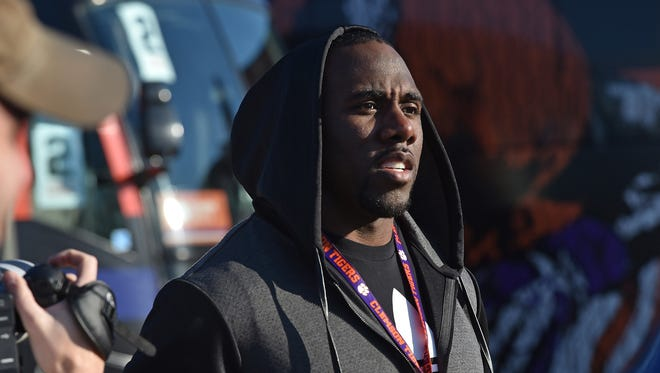 New Orleans Saint C.J. Spiller watched Clemson's  practice at Scottsdale Community College on Saturday, January 9, 2016 in Scottsdale, AZ.