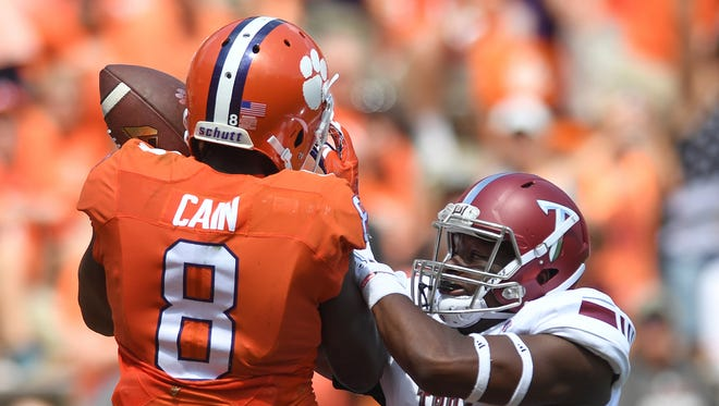 Clemson receiver Deon Cain (8)  is unable to come down with a catch during Clemson's game last Saturday against Troy at Memorial Stadium.