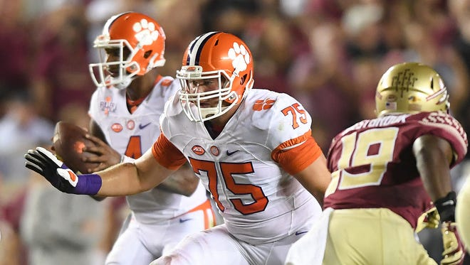 Clemson offensive lineman Mitch Hyatt (75) during the 1st quarter at Florida State's Doak Campbell Stadium in Tallahassee, Fl. on Saturday, October 29, 2016.