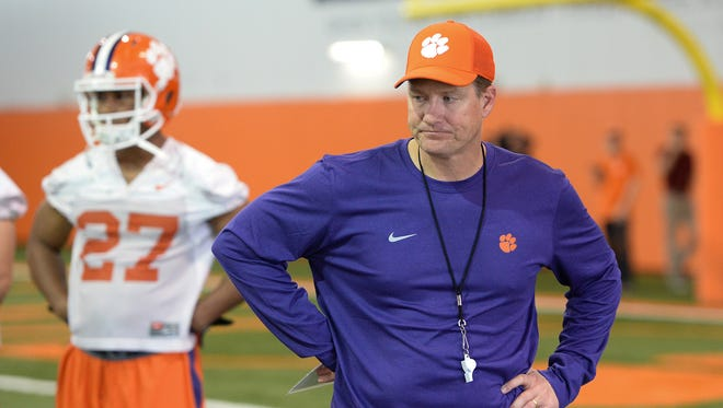 Clemson safeties coach Mickey Conn during the Tigers' opening day of spring practice on Wednesday, March 1, 2017.
